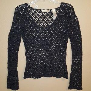 Tops - Sparkly Black Crochet Top Shirt Medium